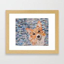 corgi on blue background Framed Art Print