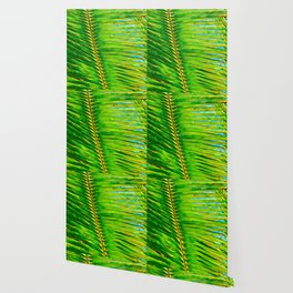 Coconut Frond in Green Aloha Wallpaper