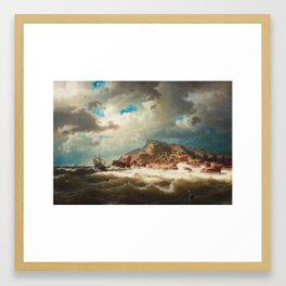 Marcus Larsson - Ship by the coast Framed Art Print
