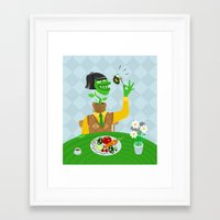 vegetarian Framed Art Prints featuring Vegetarian parody by Bakal Evgeny