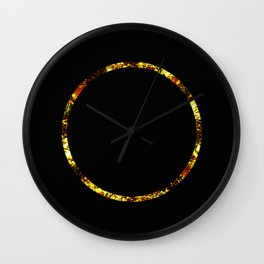 Golden Ring - Minimalistic, gold and black abstract art, metallic gold texture Wall Clock