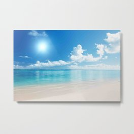 Beach Ocean Seaside Clouds Sun Sunshine Blues Metal Print