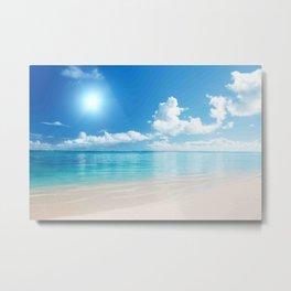 Beach Ocean Seaside Clouds Sun Sunshine Blues Metal Print