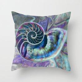 Iridescent Shell Snail Fossil Throw Pillow