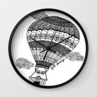 baloon Wall Clocks featuring Hot Air Baloon by Fill Design by mervegokdere