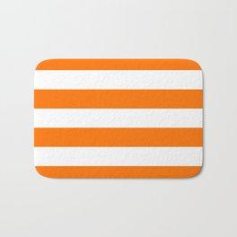 Bright Tumeric Orange and White Wide Horizontal Cabana Tent Stripe Bath Mat
