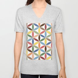 Flower of Life Retro Color Big Pattern Unisex V-Neck