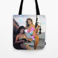 guns Tote Bags featuring Bubble Guns by Woah Jonny