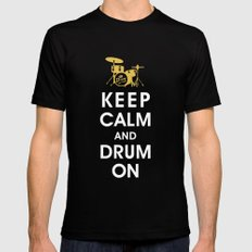Keep Calm and Drum On  LARGE Black Mens Fitted Tee