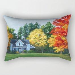 Blue House in Autumn Rectangular Pillow