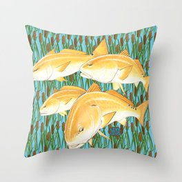 Live for the Catch- Red Fish Throw Pillow