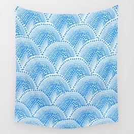 Many Blue Dots, White Background Wall Tapestry