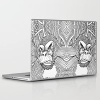 planet of the apes Laptop & iPad Skins featuring Rise of the Dawn of the Planet of the Psychedelic Apes by The Rural drawer by Inky Doodles