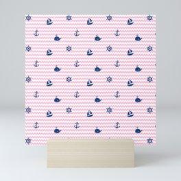 Nautical Navy Blue Pink Chevron Baby Girl Nursery Mini Art Print