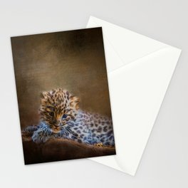Cute painting amur leopard cub Stationery Cards