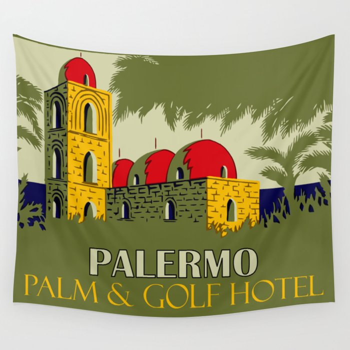 Retro Palermo Sicily hotel travel ad Wall Tapestry