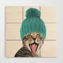 Cat with hat illustration Wood Wall Art