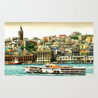 istanbul Area & Throw Rugs featuring Istanbul city by laika in cosmos