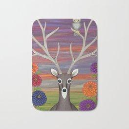 white tailed deer, owl, zinnias Bath Mat