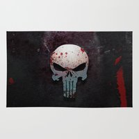 punisher Area & Throw Rugs featuring Punisher Skull  by Electra