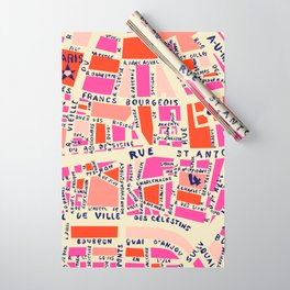 paris map pink Wrapping Paper