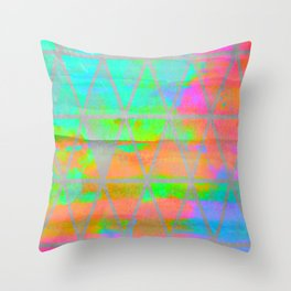 Neon colored abstract geometric triangle design Throw Pillow
