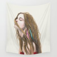 wind Wall Tapestries featuring The Wind by Carlos ARL