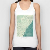 vintage map Tank Tops featuring Barcelona Map Blue Vintage by City Art Posters