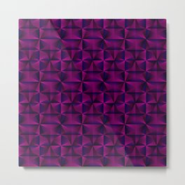 A chaotic mosaic of convex rhombuses with pink intersecting bright lines and squares. Metal Print
