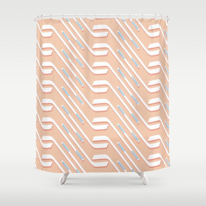 Sticks On Pink Ice Society6 Hockey Sport Shower Curtain