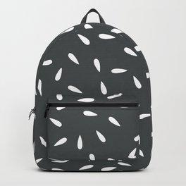 White Raindrops on Dark Gray Background Backpack