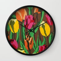 tulips Wall Clocks featuring Tulips  by Marjolein