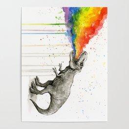 T-Rex Dinosaur Vomits Rainbow Poster