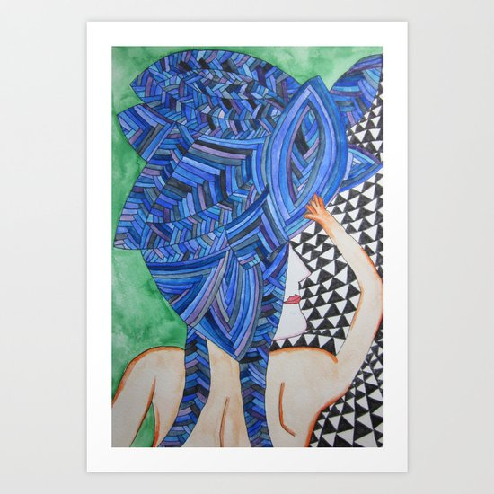 Blue Hair back Art Print