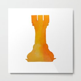 Chess Rook Watercolor Metal Print