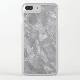 White Ink on Silver Background Clear iPhone Case