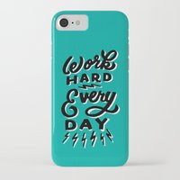 work hard iPhone & iPod Cases featuring Work Hard! by Dude, Be Awesome
