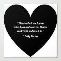 dolly parton Canvas Prints featuring Dolly Parton slogan in Black by Geraldine Mattis