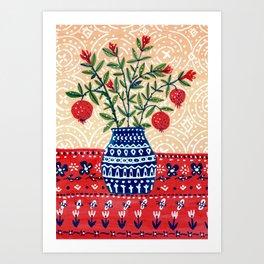 Pomegranate in Vase Art Print