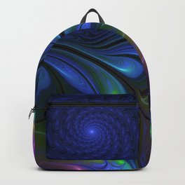 Colorful Luminous Abstract Blue Pink Green Fractal Backpack