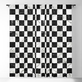Marble Checkerboard Pattern - Black and White Blackout Curtain