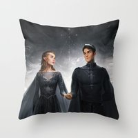 Throw Pillows featuring The Court of Dreams by charliebowater