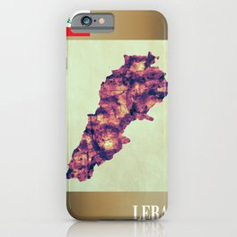 Lebanon Map with Flag iPhone Case