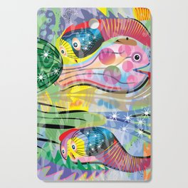 Hippy Fish in Rainbow Glow Cutting Board
