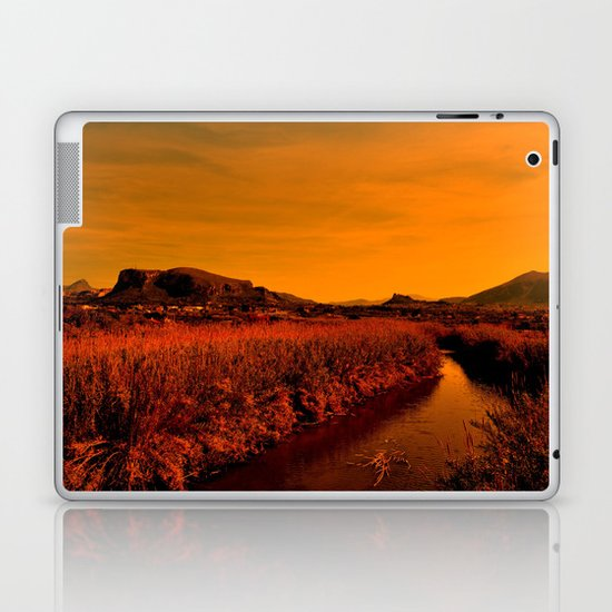 river at sunset Laptop & iPad Skin