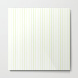 Pale Cucumber Pin Stripe on White Metal Print