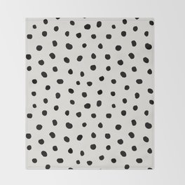Modern Polka Dots Black on Light Gray Throw Blanket