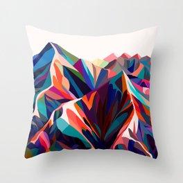 Mountains sunset warm Throw Pillow