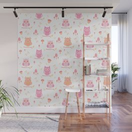 Cute funny pastel pink coral orange owl floral Wall Mural