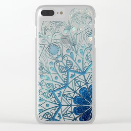 Mandala in Sea Green and Blue Clear iPhone Case